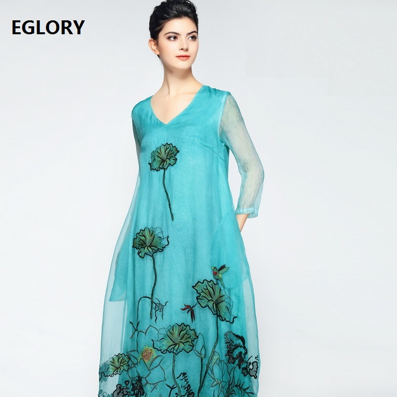 Women Casual Dress 2018 New Arrival V-Neck Organza Silk Embroidery Three Quarter Length Midi Party Loose Dress Plus Size Summer summer embroidery ruffled round neck dress loose robe dress