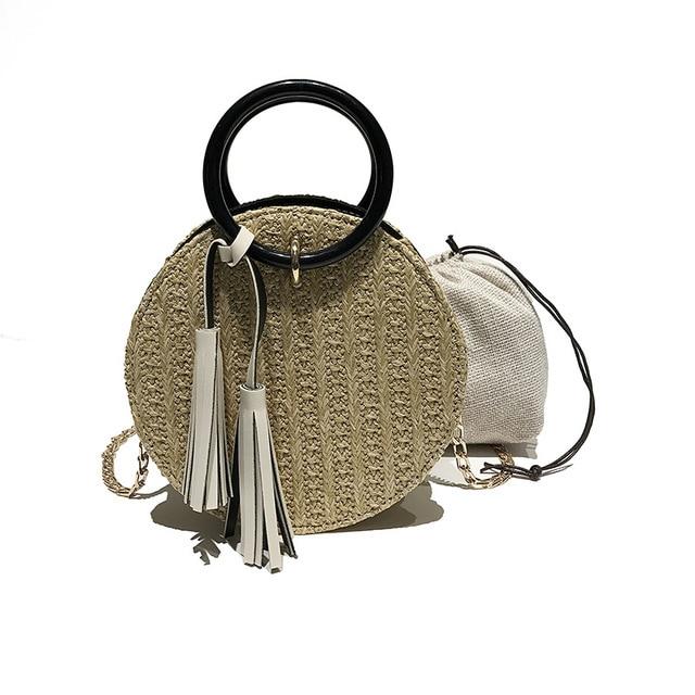 Round Bag For Women2018 Bali Body Bamboo Handbag Straw Cloe Handbags Wicker Bags Beach Designer Spain