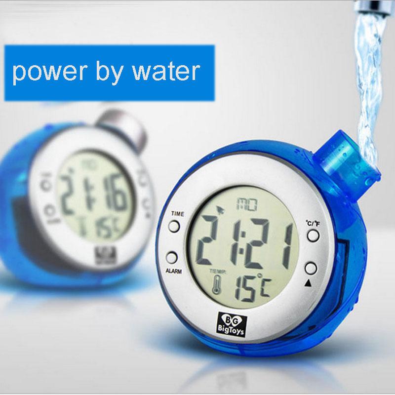 Eco-friendly Water Power Digital LCD Alarm Clock Novelty Self Energy
