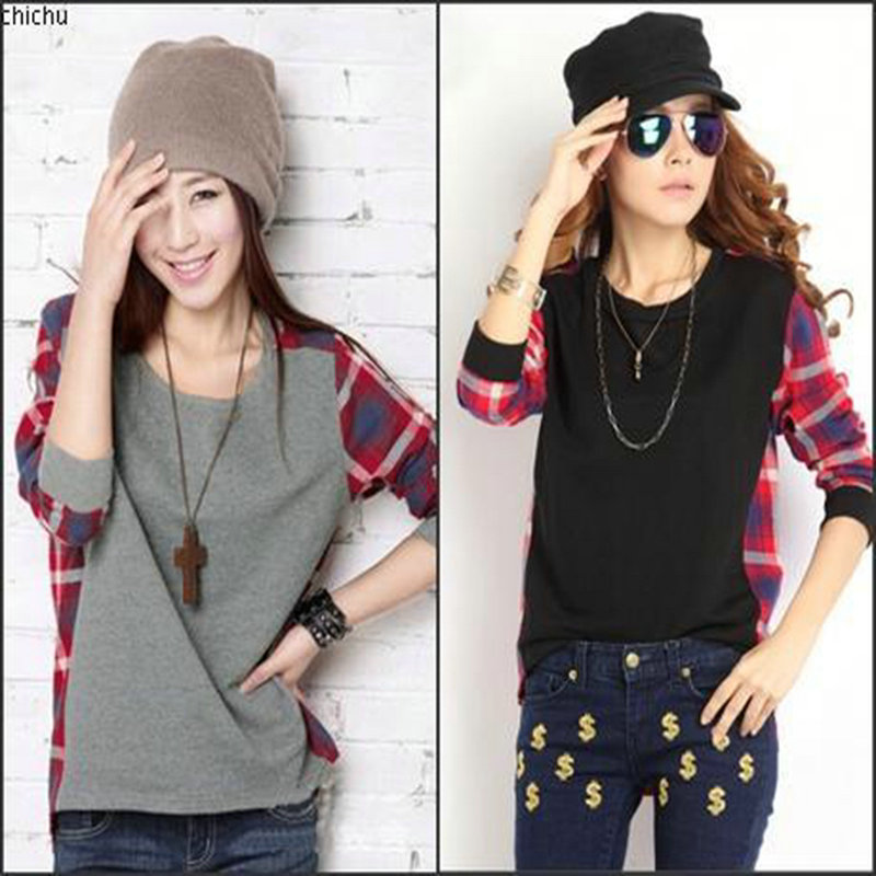 fashion Women s Clothes long sleeve t Shirt O neck font b tartan b font design