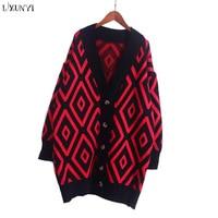 LXUNYI Long Cardigan Women 2018 Spring Korean Women S Fashion Plaid Knitted Cardigans Loose Casual Sweater