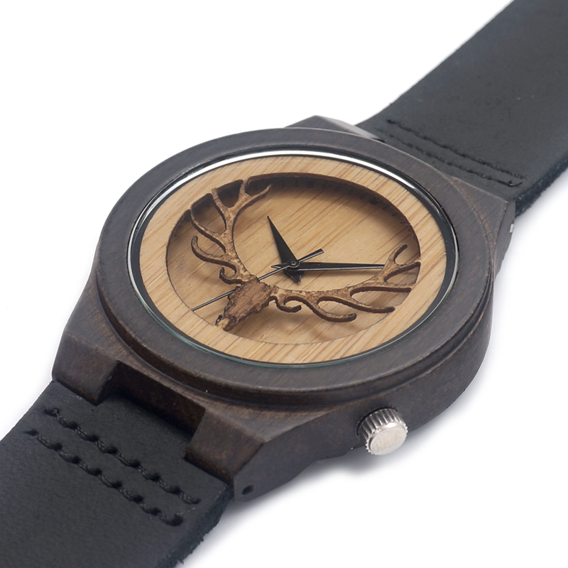 Elk Head Antique Watch With Genuine Cowhide Leather Band
