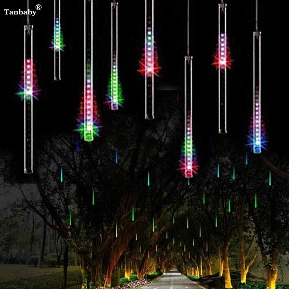 Tanbaby 30CM Meteor Shower Rain LED Tubes Light AC100-240V EU/US Plug Christmas Tree Fairy String Light Garden Luces Decora Xmas
