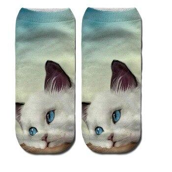 YGYEEG calcetines de dibujos animados para mujeres Animal PEQUEÑO calcetines de algodón cortos de dibujos animados calcetines de barco transpirables Casual señoras calcetín divertido gato de tobillo de corte bajo
