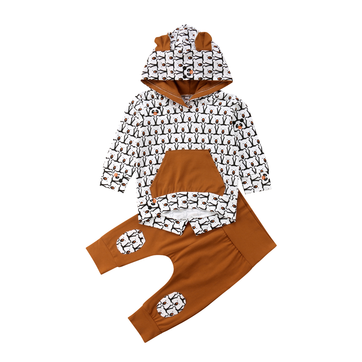 цена на Newborn Baby Boys Girls Hot Clothing Set Fashion New Long Sleeve Hoodie Bear Animal Print Tops Long Pants Casual Outfits Sets