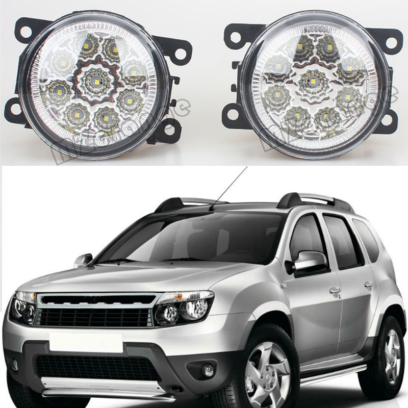 car styling fog lamp For Renault DUSTER 2012-2015 Car styling LED fog Lights high brightness fog lamps 1set led front fog lights for renault koleos hy 2008 2013 2014 2015 car styling bumper high brightness drl driving fog lamps 1set