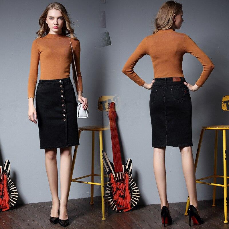 2017 Summer New Pattern European style big size Cowboy Black woman font b skirt b font