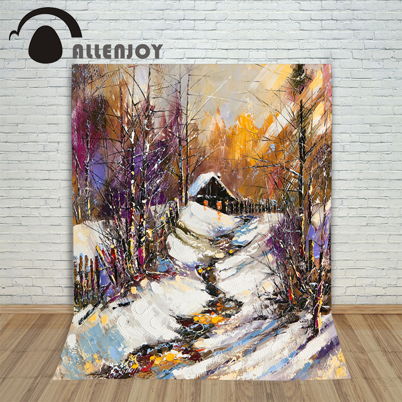 A background for font b photos b font Painting Snow House Christmas children s photographic font