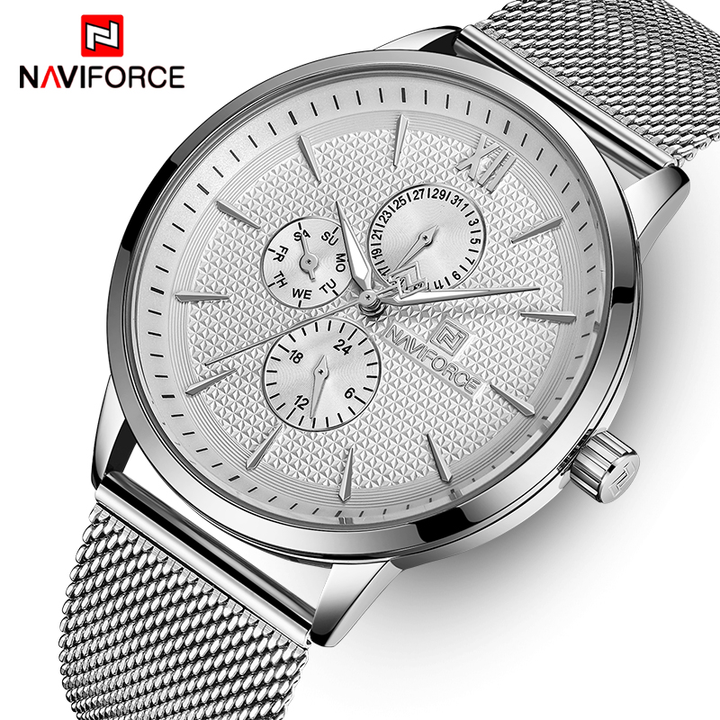Mens Watches NAVIFORCE Top Brand Luxury Waterproof Ultra Thin Clock Male Full Steel Casual Quartz Watch Men Sports Wrist Watch nakzen men casual ultra thin quartz watch top brand luxury waterproof mens watches male sports wrist watch relogio masculino