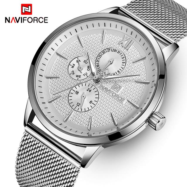 Mens Watches Top Luxury Brand NAVIFORCE Waterproof Clock Male Steel Quartz Watch Men Business Wristwatch With Box Set For Sale