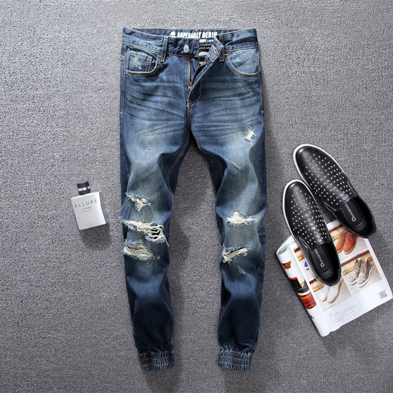 Classic Fashion Men Jeans Jogger Pants Blue Color Denim Destroyed Ripped Jeans Men Ankle Banded Pants Slim Leg Cropped Jeans men s cowboy jeans fashion blue jeans pant men plus sizes regular slim fit denim jean pants male high quality brand jeans