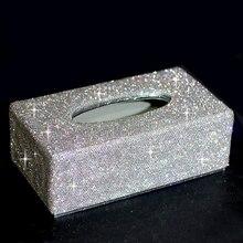Bling, сверкающие, роскошная обувь с украшением в виде кристаллов блестящие, ручной работы дома декоративные органайзер для автомобиля, держатель для туалетной бумаги коробка