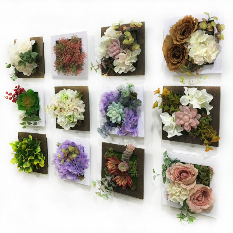 New 3d artificial flowers succulent plants imitation wood for Artificial flowers decoration for home