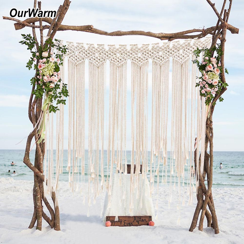 OurWarm Handcrafted Macrame Wedding Backdrop Hanging Drop Cotton Thread Bohemian Style Hanging Beach Wedding Backdrop Decor
