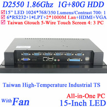 All in One PC Computer with 5 wire Gtouch 15 inch 4: 3 6COM LPT LED touch 1G RAM 80G HDD Dual 1000Mbps Nics