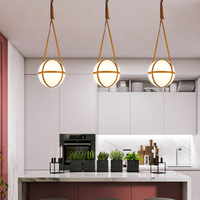 Nordic creative leather sling white frosted ball glass single pendant lamp simple LED dining room decoration E27 lighting