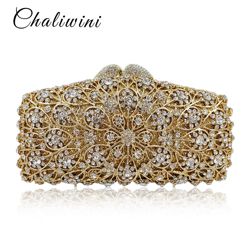 Luxury Crystal Hollow Out Day Clutches Women Evening Bags Wedding Party Clutch Bag Hanging Toiletry Bag Lady Gold Diamonds Purse new women handmade prom clutch evening bag luxury party bags lady crystal minaudiere diamonds day clutches smyzh e0067