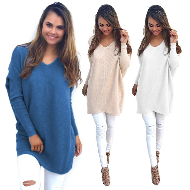 Womens Sexy V Neck Chunky Knitted Oversized Solid Outwear Baggy ...