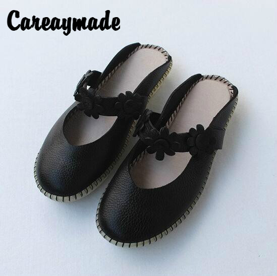 Careaymade New Foreign Trade Retro vintage genuine Leather Sandals and Slippers for Women in Summer 2019