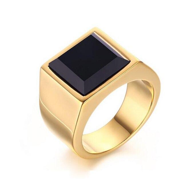 Men Gold Color Titanium Ring Black Square Black Stone Ring 316L