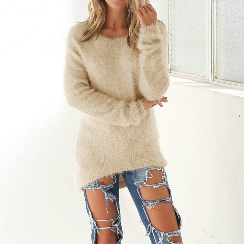 2018 New Fashion Autumn Winter Women Sweater O-Neck Women Pullover Long Sleeve Casual Loose Sweater Knitted Tops