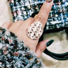 SINLEERY Vintage Opal стразы полые большой широкий кольца для Для женщин Модные украшения из розового золота Цвет JZ197 SSH