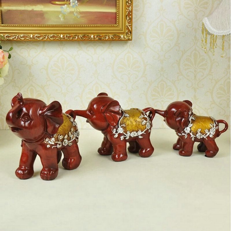 2 Colors Household 3PC Elephant Parents And Child Family Resin Home Decorating Cinnabar Ornaments Office Decoration Tableware wholesale resin snowman family of 4 christmas ornaments personalized gifts that can write own name for holiday and home decor