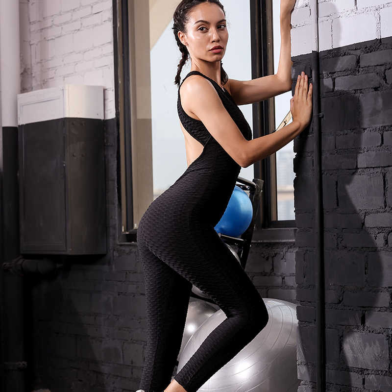 choose genuine price 2019 real 2019 Gym Set Fitness Clothing Women's Sports Suit Set Workout Clothes Yoga  Sets Fitness Jumpsuit Sexy Backless Gym Bodysuit