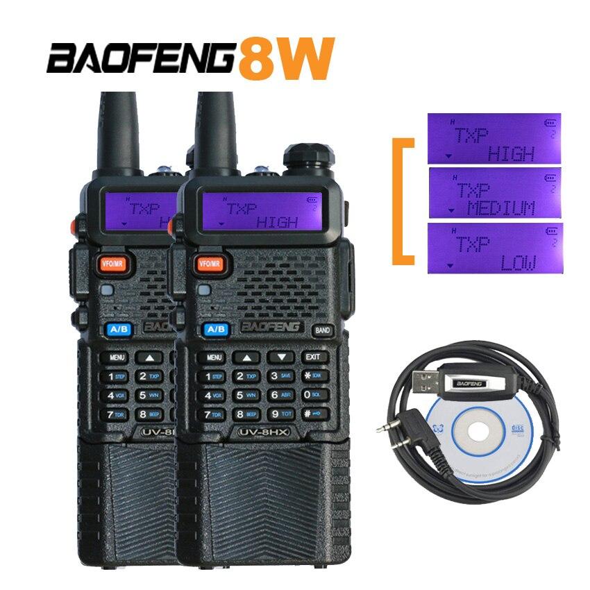 2 pièces mini-talkie-walkie Baofeng radio bidirectionnelle UV8HX 8 w émetteur-récepteur de jambon, talkie-walkie soeur avec une antenne Nagoya NA-771