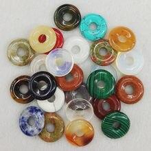 Assortiment de beignets de gogo naturels pour la fabrication de bijoux, 30 pièces, boucles de sécurité rondes, perles à la mode, vente en gros, gratuit