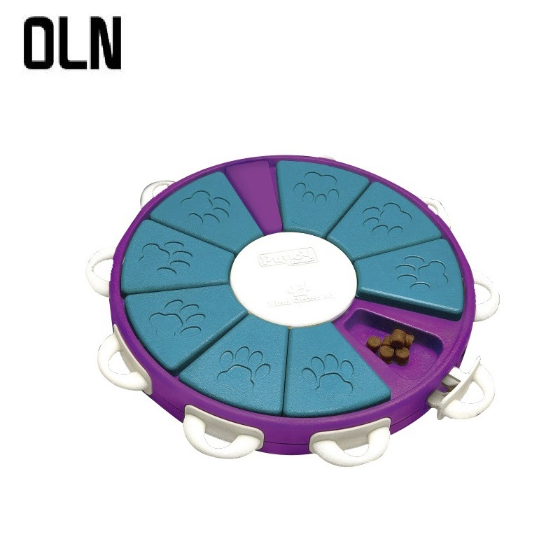OLN Intelligent interactive dog feeding toy pet slow feeder anti-swallowing durable ABS healthy food bowl training dogs to eat