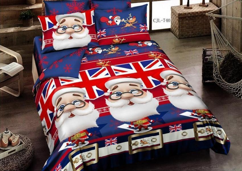 Christmas Bedding Comforter Set Santa Claus For Queen Size