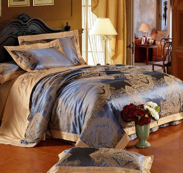Luxury Jacquard Satin Cotton Silk King Size Bedding Set