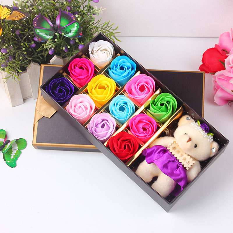 Rose Flowers Gift Box Artificial Soap With Bear Gifts For Mothers Day Wedding 12 Pc Set