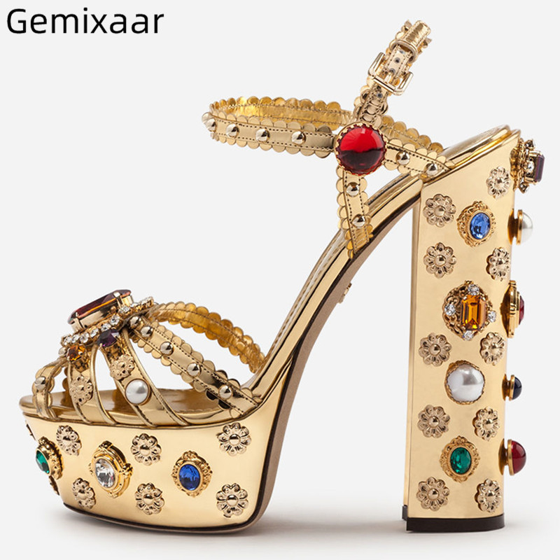 Colorful Jewelry Sandals Shoes Women Peep Toe 5cm Platform Ankle Buckle Dacing Shoes Narrow Strap Square High Heel Sandals WomanColorful Jewelry Sandals Shoes Women Peep Toe 5cm Platform Ankle Buckle Dacing Shoes Narrow Strap Square High Heel Sandals Woman