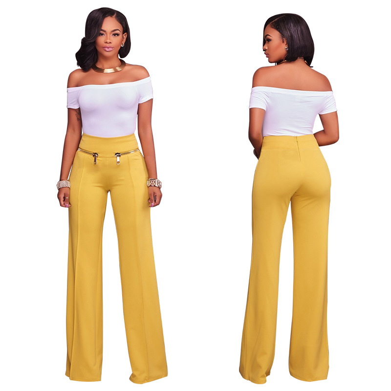 Women's High Waist   Wide     Leg     Pants   Fashion Plus Size XL Women   Pants   Solid Colors Female Trousers Straight Loose Black OL Trousers