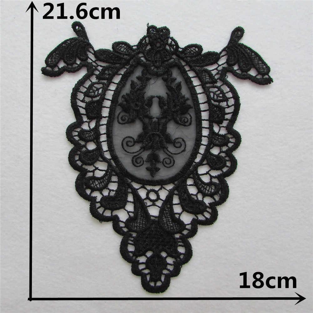 2017 gran oferta cuello artesanal negro aplique de encaje floral decorado DIY escote decoración de vestido de costura 1 Uds. Venta YL681