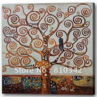 Canvas wall picture handmade reproduction oil painting of Klimt tree for home decor