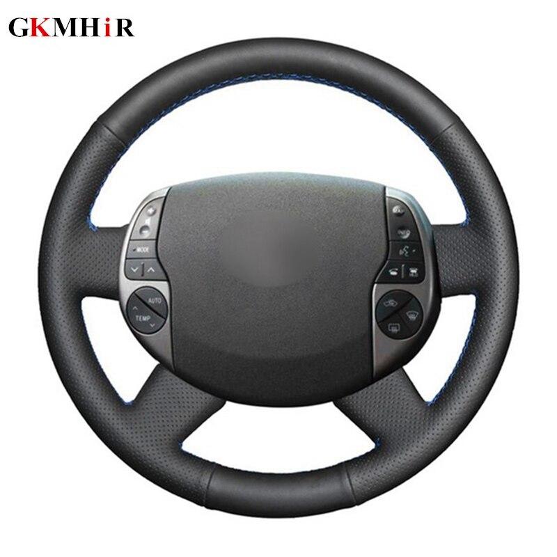 Preto cobertura de direção de couro artificial capa volante do carro para toyota prius 20 (xw20) 2004 2005 2006 2007 2008 2009