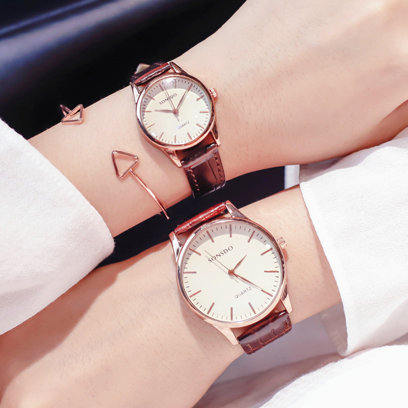 2018 Business Style Big Dial Fashion Casual Watch Men Women Quartz Clock Leather Lovers' Wristwatches Orologio Hours