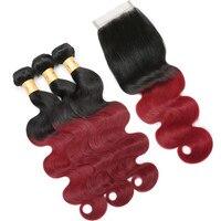 Модные женские предварительно Цветной объемная волна натуральные волосы Связки с закрытием перуанский Ombre T1B/бордовый красный Связки с зак