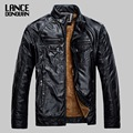 New 2016 4 COLORS M-3XL Plus Velvet Mens Leather Jackets and Coats man Pu Leather Jaqueta Couro Masculina For Spring Winter