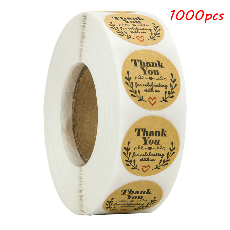1000pcs Natural Kraft Olive Round Thank You Stickers Seal Labels For Celebrating With Us Labels Stickers And Stationery Sticker