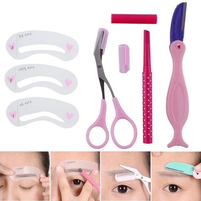 magic eyebrow stencil set make up eyebrow guide eye template stencil shaping eyebrow pencil makeup tools 1