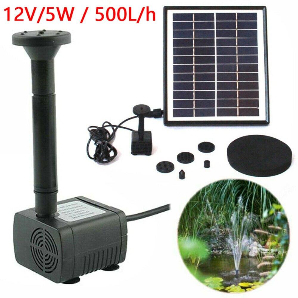5W 12V Außen Garten Solar Garten Brunnen Pumpe Solar Powered Brunnen Teich Tauch Wasserpumpe Pool 500L/H