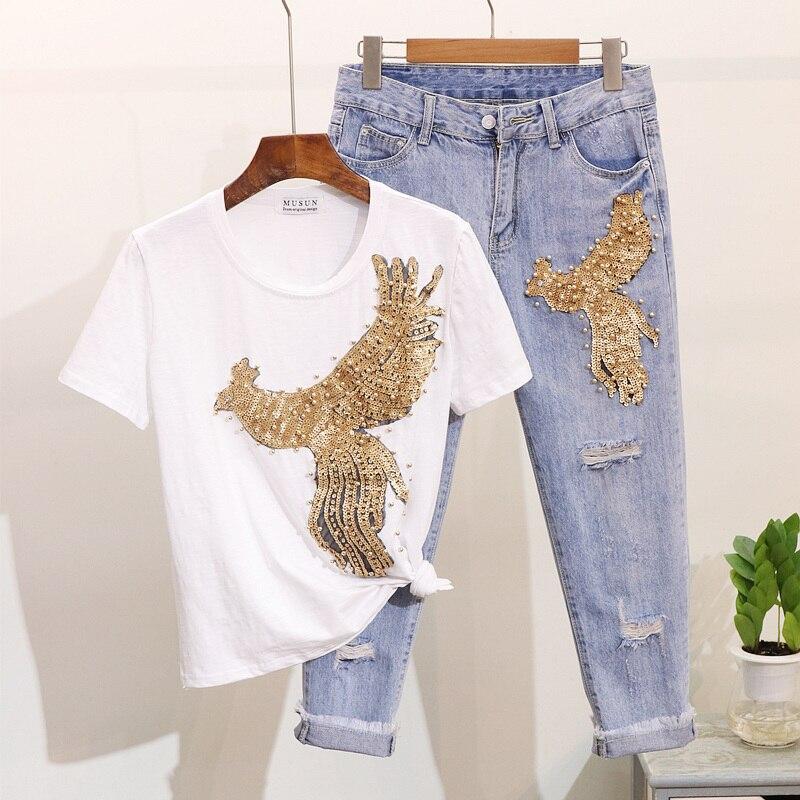 fbcc017ce8d Nueva-primavera-verano-de-las-mujeres-de-la-moda-conjuntos-de -lentejuelas-cord-n-Phoenix-Camiseta.jpg