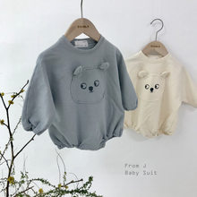 Newborn Boys And Girls Cartoon Cotton Hemp Crawling Clothes In Autumn Of 2019 Baby Girl Clothing(China)
