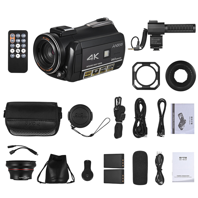 Andoer AC3 4K UHD Portable Digital Video Camera Camcorder DV Recorder 30X Zoom WiFi Connection 3.1 Inch IPS LCD Touchscreen 1