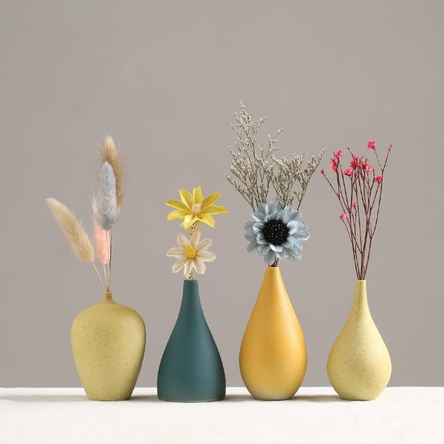 European Simple Ceramic vase yellow Porcelain vases small flower vase DIY Bottle wedding vases for table decorations home decor 1