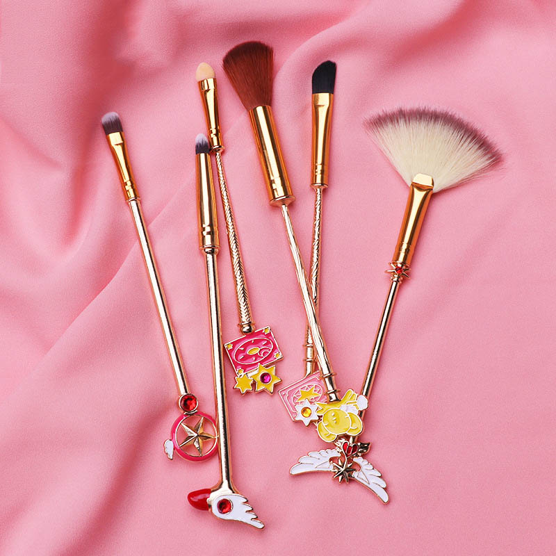 6pcs Card Captor Sakura Makeup Brush Cosmetic Tools Toiletry Beauty Stick Rod Brush Gift Women Girl Dropship Party Props